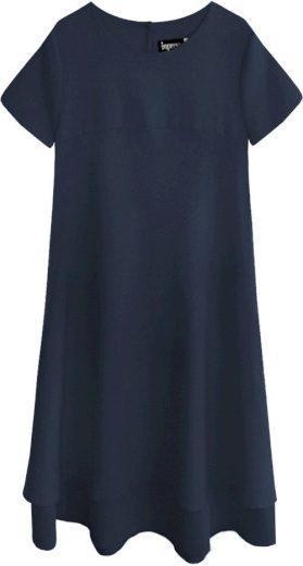 Tmavě modré trapézové šaty (436ART)