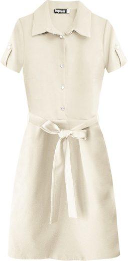 Béžové dámské šaty s límečkem (448ART)