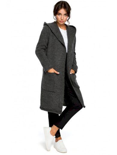 BK016 Dlouhý svetr s kapucí s bočními kapsami