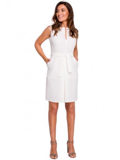 Pouzdrové šaty bez rukávů S158 s předním plisováním