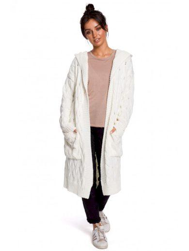 BK033 Plisovaný pletený svetr s kapucí