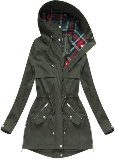 Bunda parka v khaki barvě s kapucí (W151)