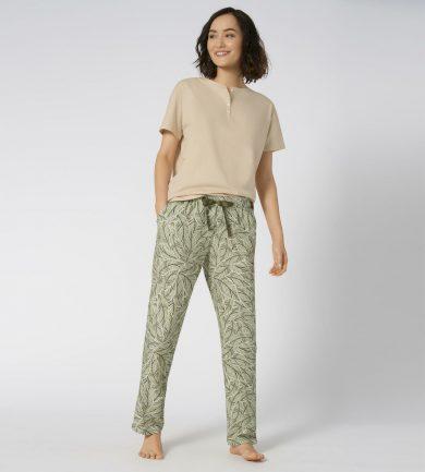 Dámské pyžamové kalhoty Mix & Match šedozelené - Triumph