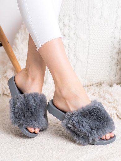 Moderní šedo-stříbrné dámské  nazouváky bez podpatku