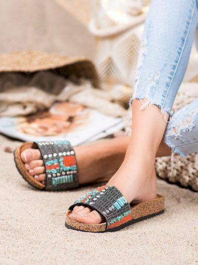 Moderní dámské  nazouváky vícebarevné bez podpatku