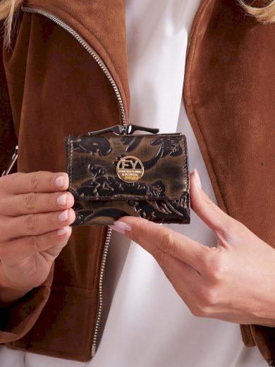 Malá černá a hnědá kožená peněženka pro ženy 55287 - FPrice