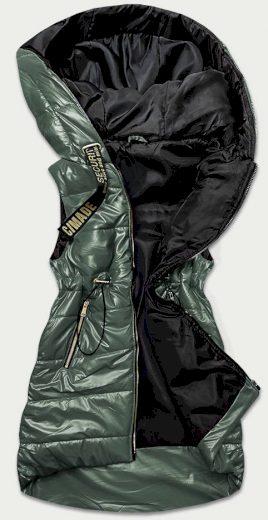 Lesklá zelená vesta s kapucí (B9732-10)