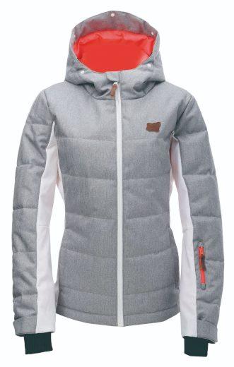 BJÖRNÖ - dámská zimní lyžařská  bunda  s  kožeš. kapucí   - světle - 2117