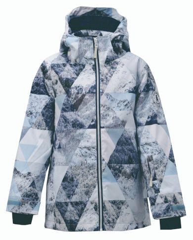 TÄLLBERG -  dětská zimní lyžařská/SNB bunda s  kapucí, modrobílá s motivem - 2117