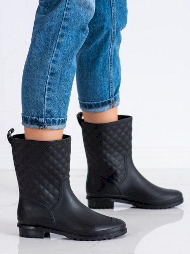 Výborné černé  gumáky dámské na plochém podpatku