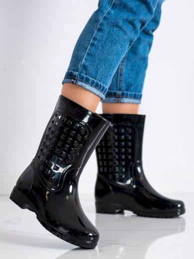 Designové  gumáky černé dámské na plochém podpatku