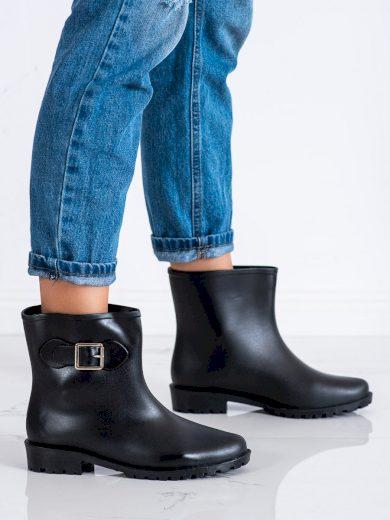 Praktické černé  gumáky dámské na plochém podpatku