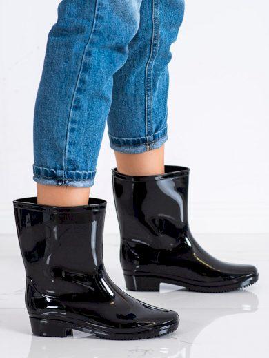 Krásné dámské černé  gumáky na plochém podpatku