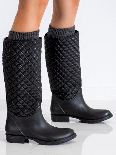 Pohodlné černé  gumáky dámské na plochém podpatku
