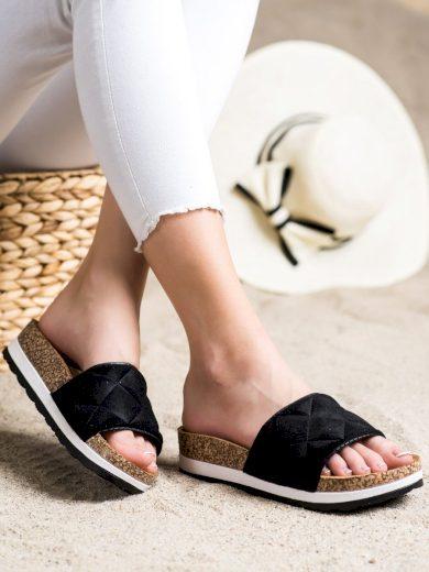 Trendy  nazouváky černé dámské bez podpatku