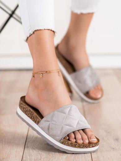 Luxusní  nazouváky šedo-stříbrné dámské bez podpatku