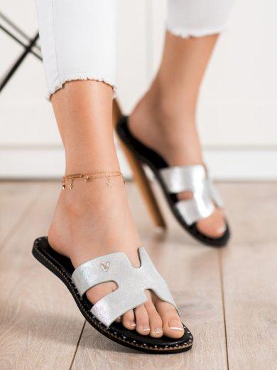 Klasické  nazouváky dámské šedo-stříbrné bez podpatku