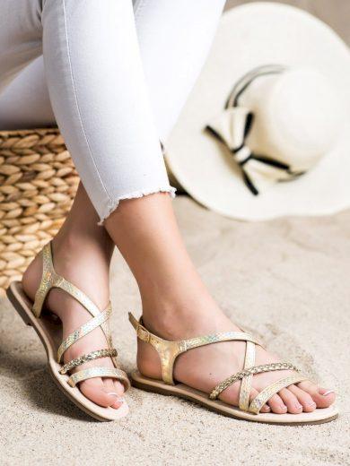Jedinečné  sandály zlaté dámské bez podpatku
