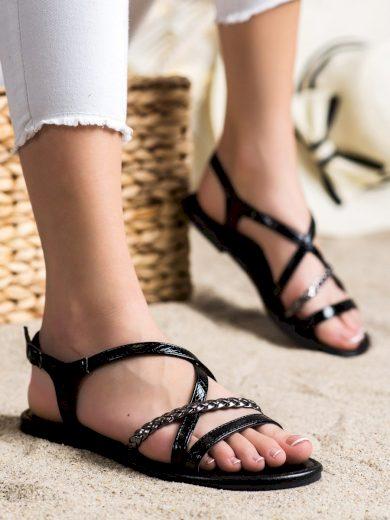 Klasické  sandály dámské černé bez podpatku