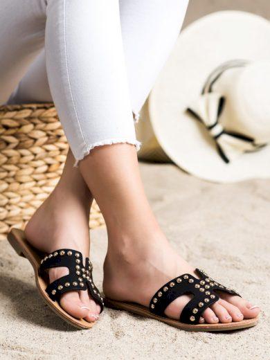 Trendy dámské černé  nazouváky na plochém podpatku