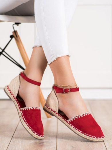 Moderní  baleríny červené dámské bez podpatku
