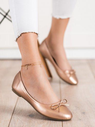 Módní  baleríny zlaté dámské bez podpatku