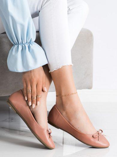 Výborné dámské hnědé  baleríny bez podpatku