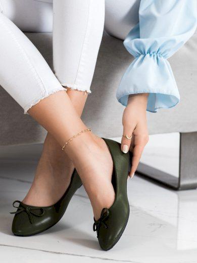 Pěkné zelené  baleríny dámské bez podpatku