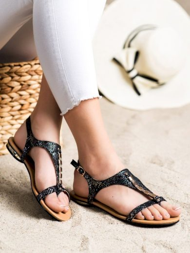 Designové  sandály černé dámské bez podpatku