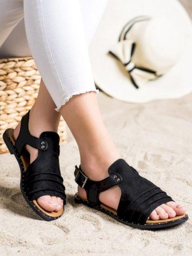 Moderní černé dámské  sandály bez podpatku