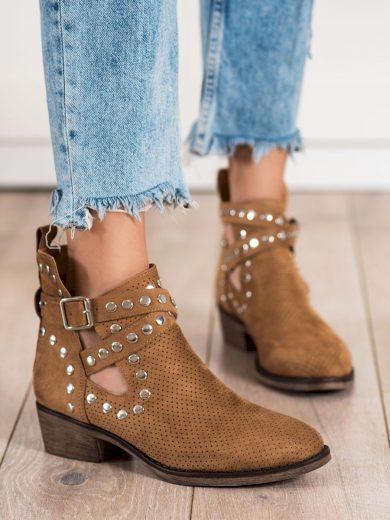 Krásné  kotníčkové boty hnědé dámské na širokém podpatku