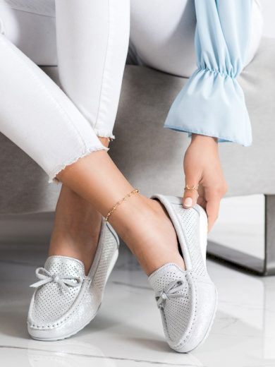 Designové šedo-stříbrné  mokasíny dámské bez podpatku