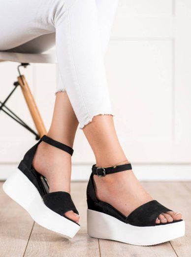 Luxusní černé dámské  sandály bez podpatku