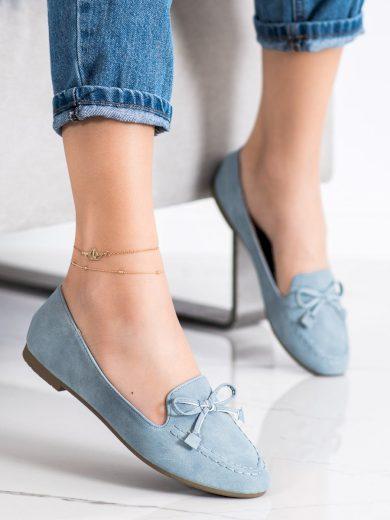 Designové modré dámské  mokasíny bez podpatku