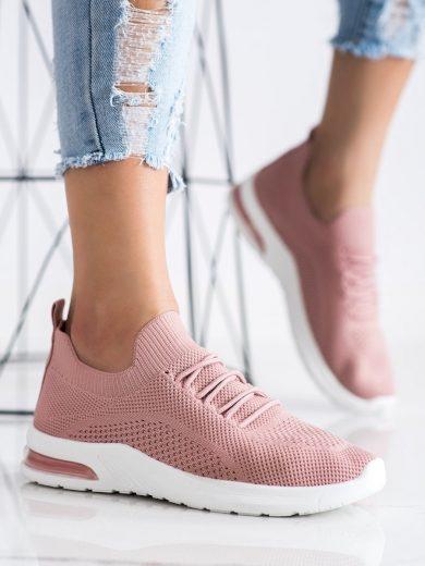 Jedinečné dámské růžové  tenisky bez podpatku