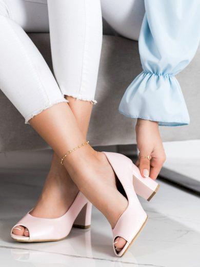 Komfortní dámské  lodičky růžové na širokém podpatku