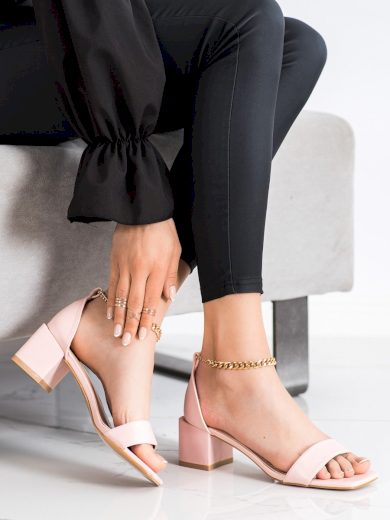 Moderní  lodičky růžové dámské na širokém podpatku
