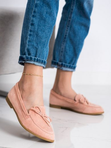 Originální  mokasíny dámské růžové na plochém podpatku