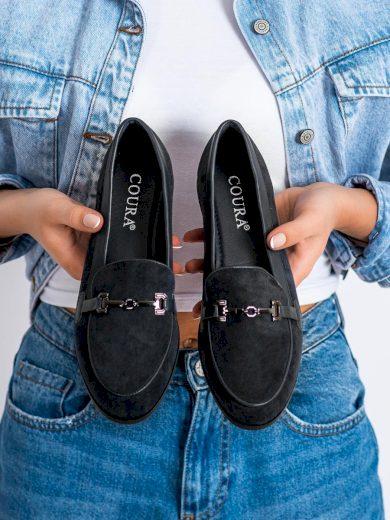 Praktické černé dámské  mokasíny na plochém podpatku