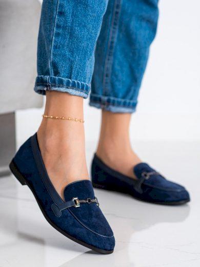 Stylové dámské  mokasíny modré na plochém podpatku