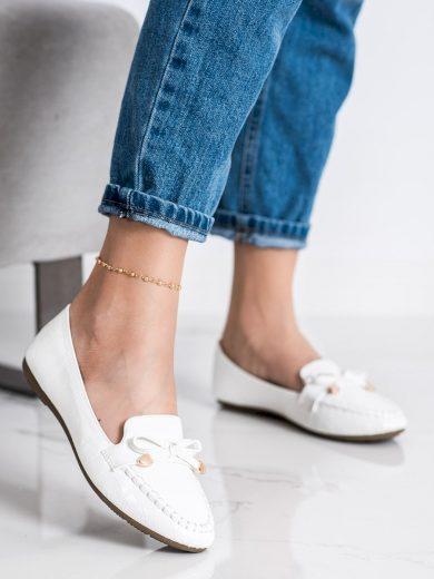 Luxusní bílé  mokasíny dámské bez podpatku