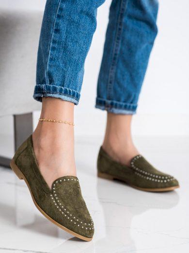 Pohodlné zelené  mokasíny dámské na plochém podpatku