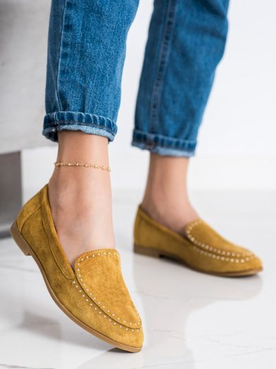 Pohodlné zlaté  mokasíny dámské na plochém podpatku
