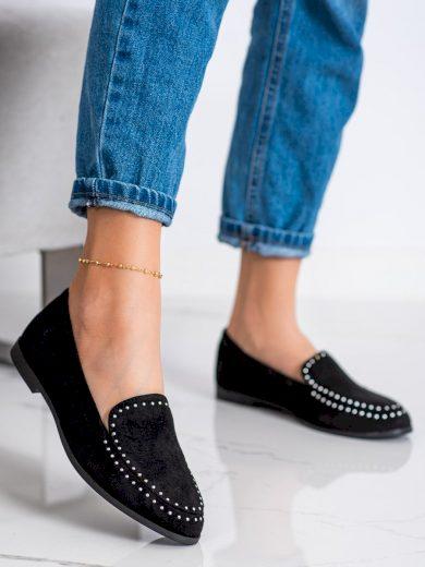 Komfortní  mokasíny černé dámské na plochém podpatku