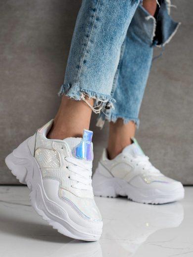 Luxusní dámské bílé  tenisky bez podpatku