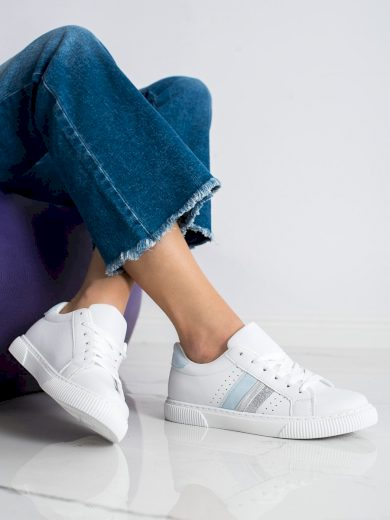 Pohodlné  tenisky dámské bílé bez podpatku