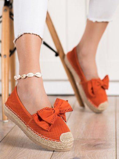 Krásné  polobotky oranžové dámské bez podpatku