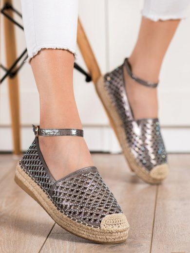 Komfortní  polobotky dámské šedo-stříbrné bez podpatku