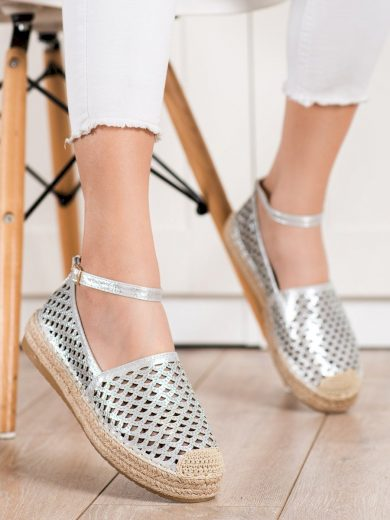 Jedinečné šedo-stříbrné dámské  polobotky bez podpatku