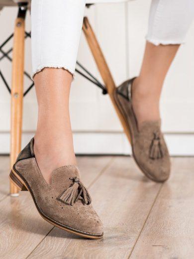 Výborné  polobotky hnědé dámské na plochém podpatku